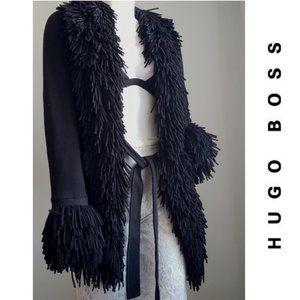 HUGO BOSS Cotton Black Shag Belted Cardigan Small